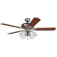 Craftmade MAN52AN5C4 Manor 52 inch Antique Nickel with Reversible Mahogany and Ash Blades Ceiling Fan in 4, Alabaster Glass, Blades Included
