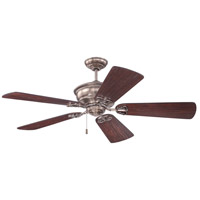 Craftmade K11232 Monaghan 52 inch Tarnished Silver with Hand-Scraped Walnut Blades Ceiling Fan in Solid Wood Blades, 52