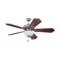 Mia 52 inch Athenian Obol with Classic Ebony Blades Ceiling Fan in Solid Wood Blades, Custom Carved, White Frosted Glass