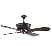 Monroe 52 inch Oiled Bronze Gilded Classic Ebony Ceiling Fan in Solid Wood Blades, Custom Carved