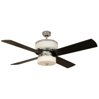 Midoro 56 inch Chrome with Black Blades Ceiling Fan in Matte Opal Glass, Blades Included