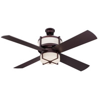 Midoro 56 inch Oiled Bronze Ceiling Fan in White Frosted Glass, Blades Included