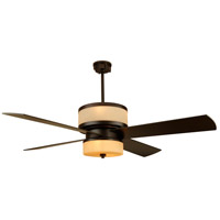 Midoro 56 inch Oiled Bronze Ceiling Fan in Tea-Stained Glass, Blades Included