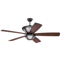 Ellington by Craftmade Moulin 9 Light Ceiling Fan with Blades Included in Mocha Bronze Silver Wash MOU54MBS5