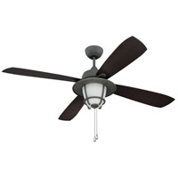 Morrow Bay 56 inch Aged Galvanized with Dark Walnut Blades Ceiling Fan in White Frosted Glass, Ellington,Blades Included