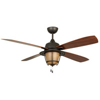 Morrow Bay 56 inch Espresso with Teak Blades Outdoor Ceiling Fan in Tea-Stained Glass, Blades Included