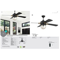 Nola 52 inch Flat Black and Satin Brass with Flat Black Blades Ceiling Fan
