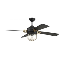 Craftmade NOL52FBSB4 Nola 52 inch Flat Black and Satin Brass with Flat Black Blades Ceiling Fan