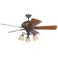 Ophelia 52 inch Aged Bronze and Vintage Madera with Hand-Scraped Teak Blades Ceiling Fan in Solid Wood Blades, Premier, 3, Tea-Stained Glass