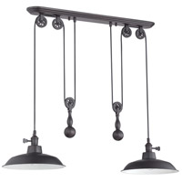 Signature 2 Light 12 inch Aged Bronze Pulley Pendant Ceiling Light
