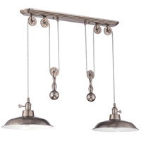Signature 2 Light 12 inch Tarnished Silver Pulley Pendant Ceiling Light