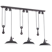 Signature 3 Light 12 inch Aged Bronze Pulley Pendant Ceiling Light