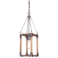 Craftmade P590FSNW1 Mason 1 Light 7 inch Fired Steel and Natural Wood Pendant Ceiling Light, Jeremiah