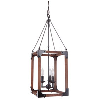 Craftmade P591FSNW3 Mason 3 Light 12 inch Fired Steel and Natural Wood Pendant Ceiling Light, Jeremiah