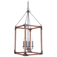 Craftmade P592FSNW4 Mason 4 Light 17 inch Fired Steel and Natural Wood Pendant Ceiling Light, Jeremiah