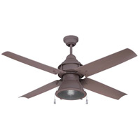 Craftmade Port Arbor 1 Light Outdoor Ceiling Fan with Blades Included in Rustic Iron PAR52RI4