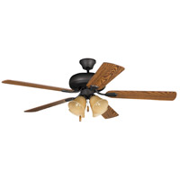 Craftmade PD52ABZ5C4 Piedmont 52 inch Aged Bronze Brushed with Reversible Mahogany and Dark Oak Blades Ceiling Fan in Tea-Stained Glass, Blades Included