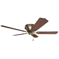 Craftmade K11242 Pro Contemporary 52 inch Antique Brass with Cherry Blades Flushmount Ceiling Fan Kit in Contractor Standard, Light Kit Sold Separately, Blades Included