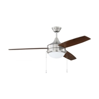 Craftmade PHA52BNK3 Phaze 52 inch Brushed Polished Nickel with Walnut/Dark Oak Blades Ceiling Fan