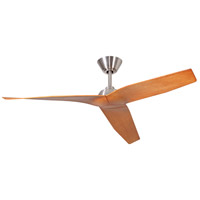 Pireos 48 inch Brushed Polished Nickel with Teak Blades Ceiling Fan, Blades Included