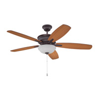 Penbrooke 52 inch Oiled Bronze Gilded with Teak Blades Ceiling Fan with Blades Included