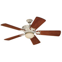 Pavilion 52 inch Antique White Distressed with Hand-Scraped Teak Blades Ceiling Fan in Solid Wood Blades, Premier