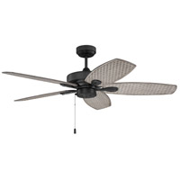 Craftmade RET52FB5 Retreat 52 inch Flat Black with Woven Driftwood Blades Indoor/Outdoor Ceiling Fan