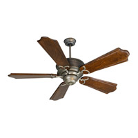 Craftmade K10351 Riata 56 inch Antique Nickel with Classic Ebony Blades Ceiling Fan Kit in Pewter Light Kit Sold Separately Custom Carved Classic