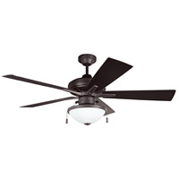 Riverfront 52 inch Aged Bronze with Aged Bronze ABS Blades Outdoor Ceiling Fan in White Frosted Glass