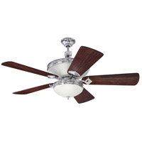 Craftmade K11253 Saratoga 52 inch Chrome with Hand-Scraped Walnut Blades Ceiling Fan
