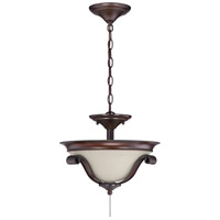 Universal LED Spanish Bronze Fan Bowl Light Kit in Creamy Frosted Glass, Convertible Pendant