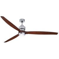Craftmade SON52CH-70WAL Sonnet 70 inch Chrome with Walnut Blades Indoor Ceiling Fan Kit in 70