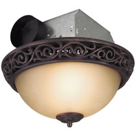 Decorative 16 inch Oil Rubbed Bronze Bath Exhaust Fan in Champagne, with Light