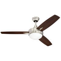 Craftmade Targas 1 Light Ceiling Fan in Brushed Polished Nickel with Walnut/Dark Oak Blades TG48BNK3