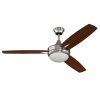 Craftmade Targas 1 Light Ceiling Fan in Brushed Polished Nickel with Walnut/Dark Oak Blades TG52BNK3