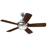 Tempo 44 inch Chrome with Flat Black/Walnut Blades Ceiling Fan