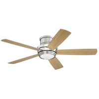 Craftmade Tempo 1 Light Hugger Ceiling Fan in Brushed Polished Nickel with Silver/Maple Blades TMPH52BNK5