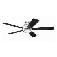 Tempo 52 inch Chrome with Walnut/Flat Black Blades Hugger Ceiling Fan
