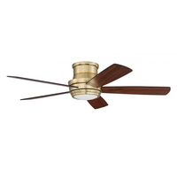Craftmade TMPH52SB5 Tempo Hugger 52 inch Satin Brass with Flat Black/Walnut Blades Ceiling Fan