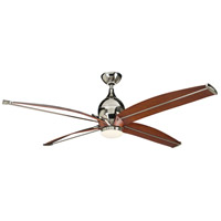 Tyrod 60 inch Polished Nickel with Classic Walnut Blades Ceiling Fan in Frost White