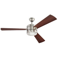 Craftmade Triad 1 Light Ceiling Fan in Brushed Polished Nickel with Dark Walnut Blades TRI54BNK3