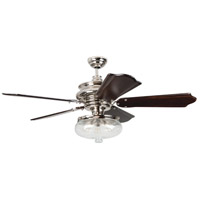 Townsend 52 inch Polished Nickel with Classic Ebony Blades Ceiling Fan in Custom Carved, 3, Clear Glass