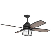 Craftmade WAT52FB4 Waterfront 52 inch Flat Black with Flat Black/Grey Walnut Blades Indoor/Outdoor Ceiling Fan