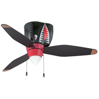 War Plane 48 inch Tiger Shark Indoor Ceiling Fan in Cased White Glass