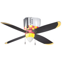 WarPlanes 44 inch WarPlanes Glamorous Glen with War Plane Blades Ceiling Fan in Cased White Glass, Blades Included