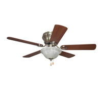 Wyman 42 inch Brushed Polished Nickel with Reversible Ash and Walnut Blades Ceiling Fan in Brushed Nickel, Alabaster Glass, Blades Included