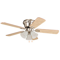 Wyman 42 inch Brushed Polished Nickel with Reversible Ash and Walnut Blades Ceiling Fan in 3, Brushed Nickel, Matte White, Blades Included