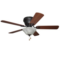 Wyman 42 inch Oiled Rubbed Bronze with Reversible Classic Walnut and Walnut Blades Ceiling Fan in Oil Rubbed Bronze, Alabaster Glass, Blades Included