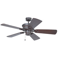 Woodward 52 inch Mocha Bronze Silver Wash with Hand-Scraped Walnut Blades Ceiling Fan in Solid Wood Blades, Premier, Light Kit Sold Separately