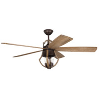 Winton 56 inch Aged Bronze Brushed and Weathered Pine with Weathered Pine Blades Ceiling Fan in Exposed Bulb, Blades Included